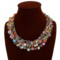 Colorful Layered Sequins Bib Necklace n103