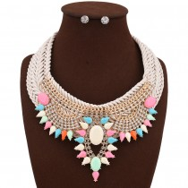 Colorful Rhinestone Cluster Necklace Earrings