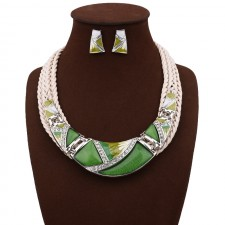Green Geometry Design Chunky Necklace Earrings Set n114