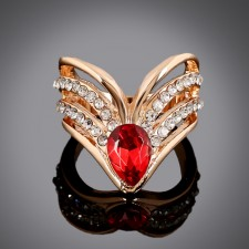 Red Champagne Gemstone Cocktail Ring r012