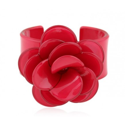 Large Red Flower Cuff Bracelet