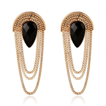 Black CZ Statement Earrings