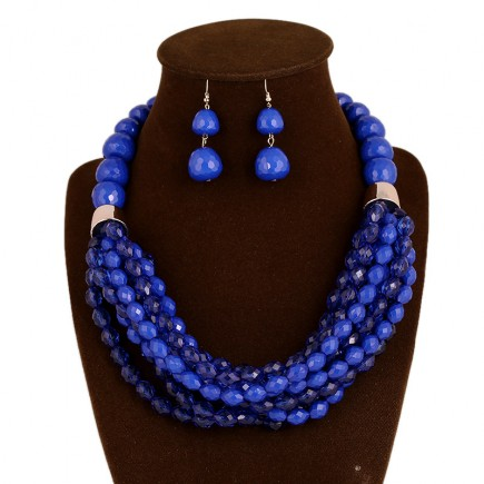 Blue Beaded Statement Jewelry Set