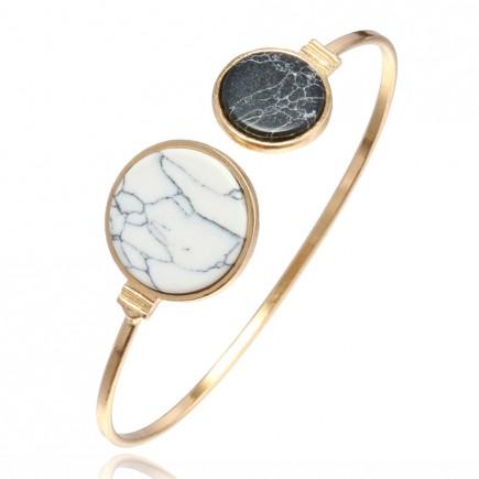 Gold Asymmetric Marble Bracelet b001