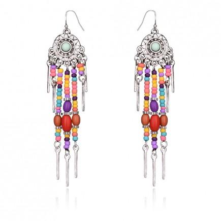 Multi Layered Silver Tassels Earrings e067