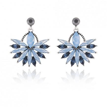 Blue Cluster Sector Stud Earrings e084