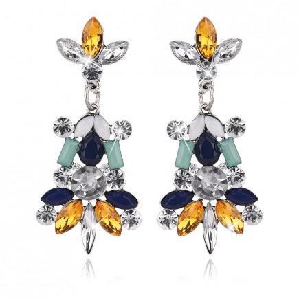 Color Cluster Rhinestones Drop Earrings e090