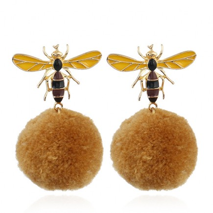 Cute Mini Gold Bee Drop Earrings e099