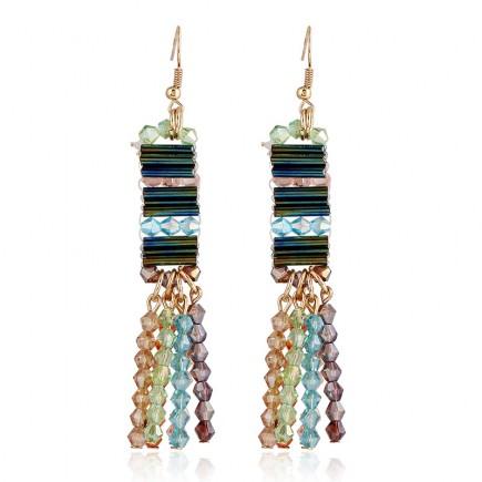 Color Beads Dangle Earrings e110