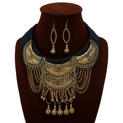 Chunky Long Drop Yellow Gold Necklace Earrings n113