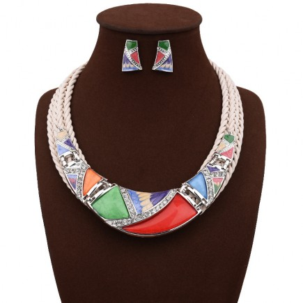 Colorful Geometry Design Chunky Necklace Earrings Set n114