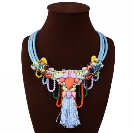 Large Daisy Gemstone Necklace
