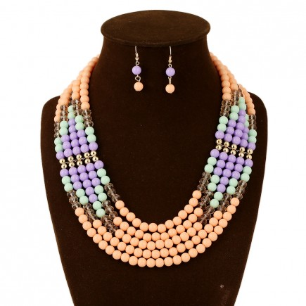 Pink Layered Bead Chunky Necklace Set