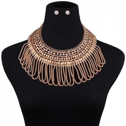 Chunky Bib Tassels Necklace Sets
