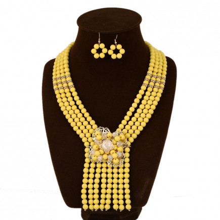 Yellow Boho Beads Statement Necklace Set
