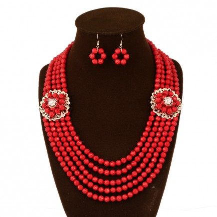 Red Layered Beads Statement Necklace Earrings