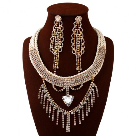 Rhinestones Costume Necklace Earrings