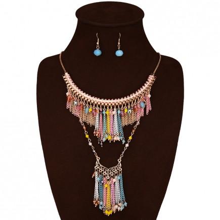 Colorful Bead Boho Necklace Earrings