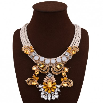 Golden Rhinestones Drop Bib Necklace