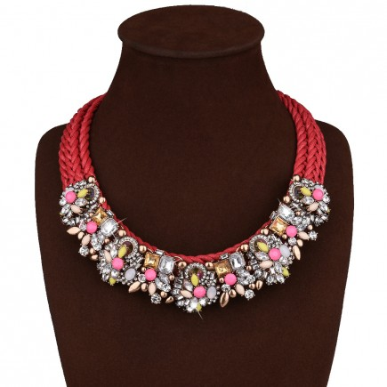Flower Rhinestone Costume Necklace