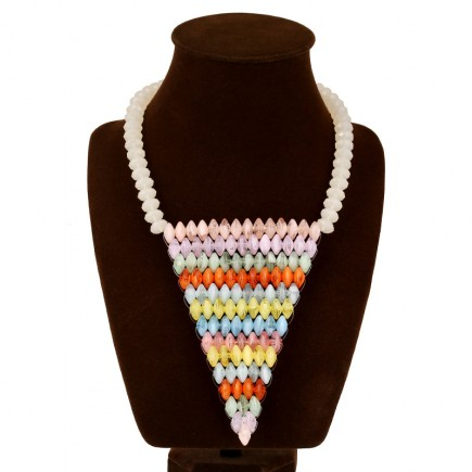Color Beads Long Drop Necklace n106