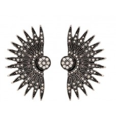 Black Crystal Costume Earrings