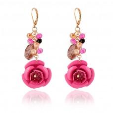 Red Cute Flower Dangle Earrings
