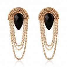 Black CZ Statement Earrings