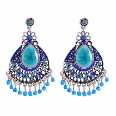 Blue Turquoise Bead Chandelier Earrings e016