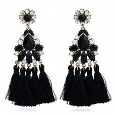 Yellow Blue Black Crystal Chandelier Earrings e020