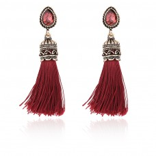 Red Black Tassles Earrings e021