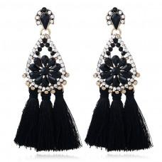 Black Red Blue Chandelier Earrings e027