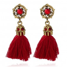 Black Red Tassels Drop Earrings e028