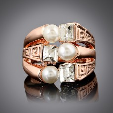 Three White Pearl Statement Ring